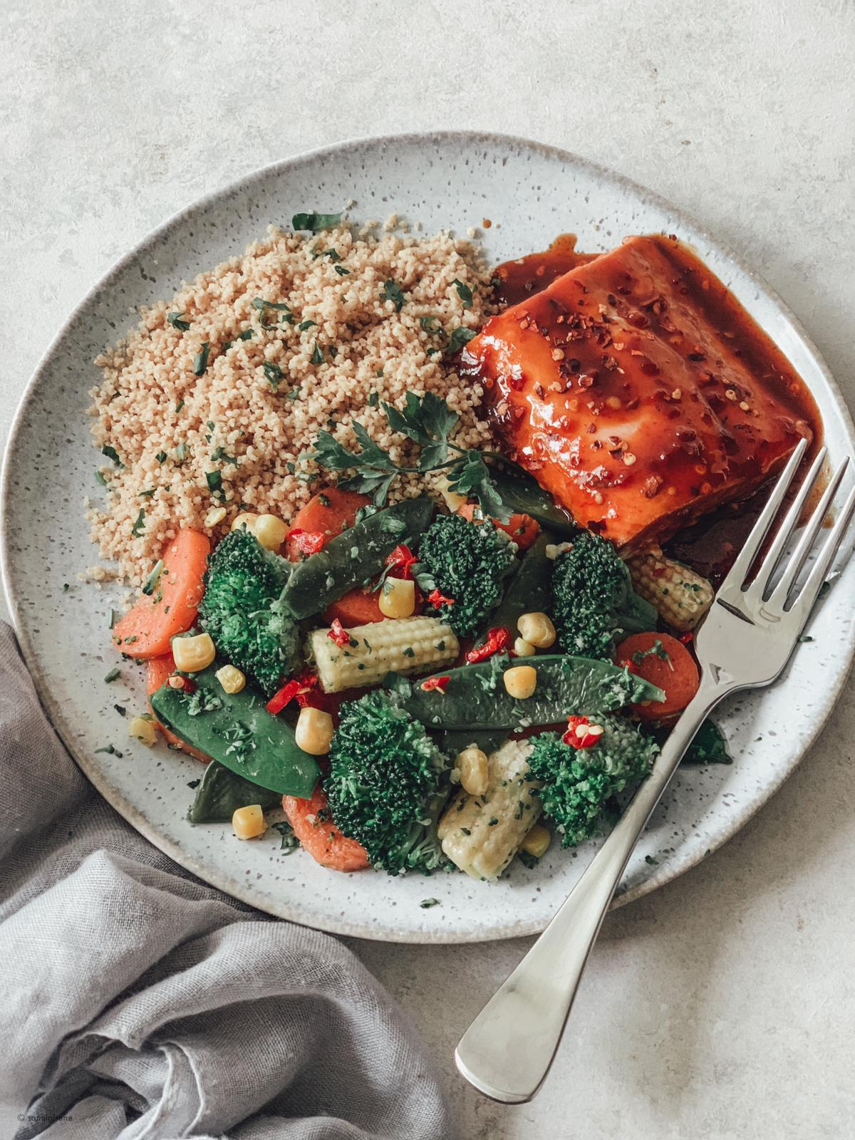 Firecracker Salmon with Herbed Couscous and Stir-fried Veggies