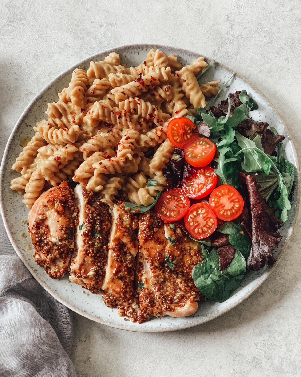 Butternut Squash Mac 'n' Cheese with Dijon Chicken Breast & Side Salad